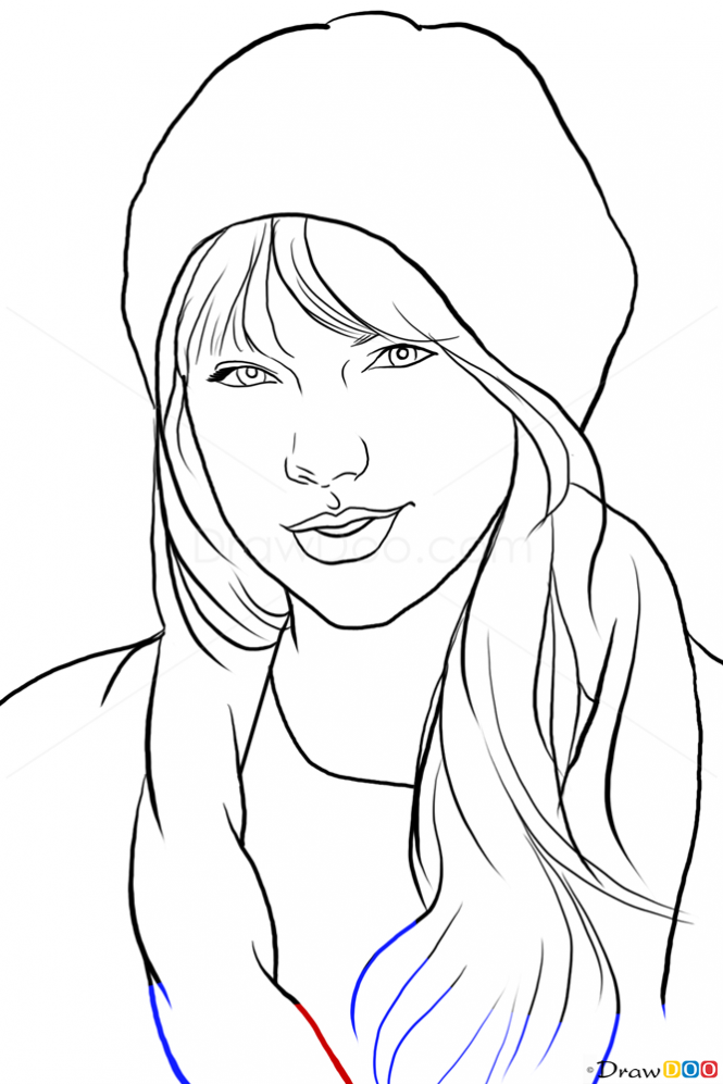 How to Draw Taylor Swift, Famous Singers | Drawing | Pinterest | Colores