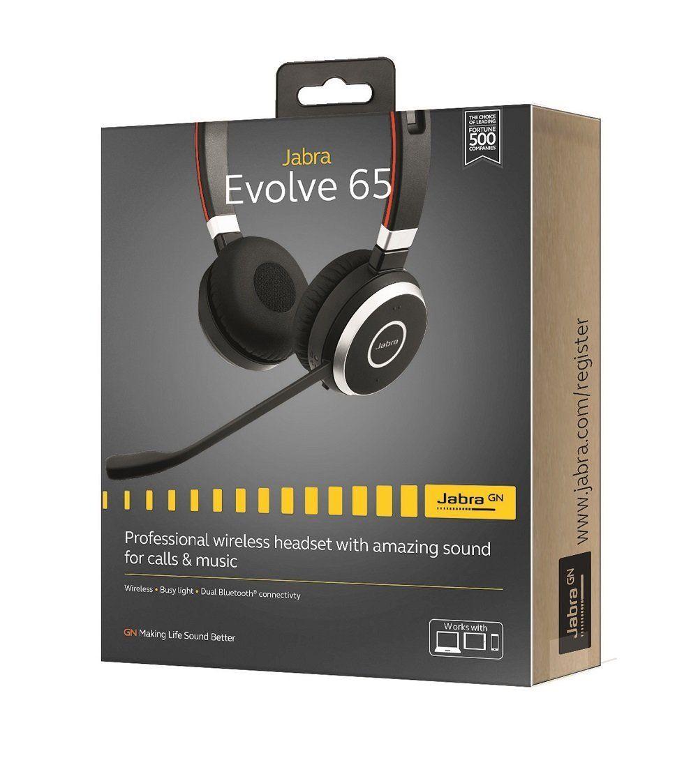 Amazon Com Jabra Evolve 65 Uc Stereo Wireless Bluetooth Headset Music Headphones Includes Link 360 U S Wireless Bluetooth Bluetooth Headset Music Headphones
