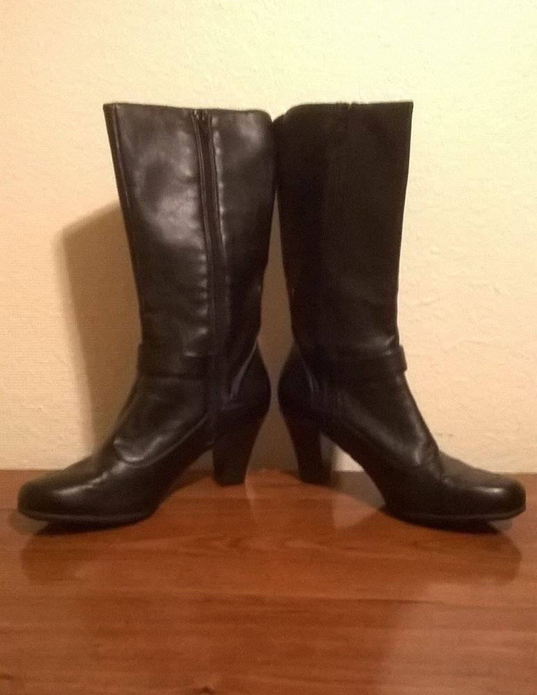 40394d9b174 Born BOC Black Leather Tall Knee High Zip Buckle Heel Boots Womens ...