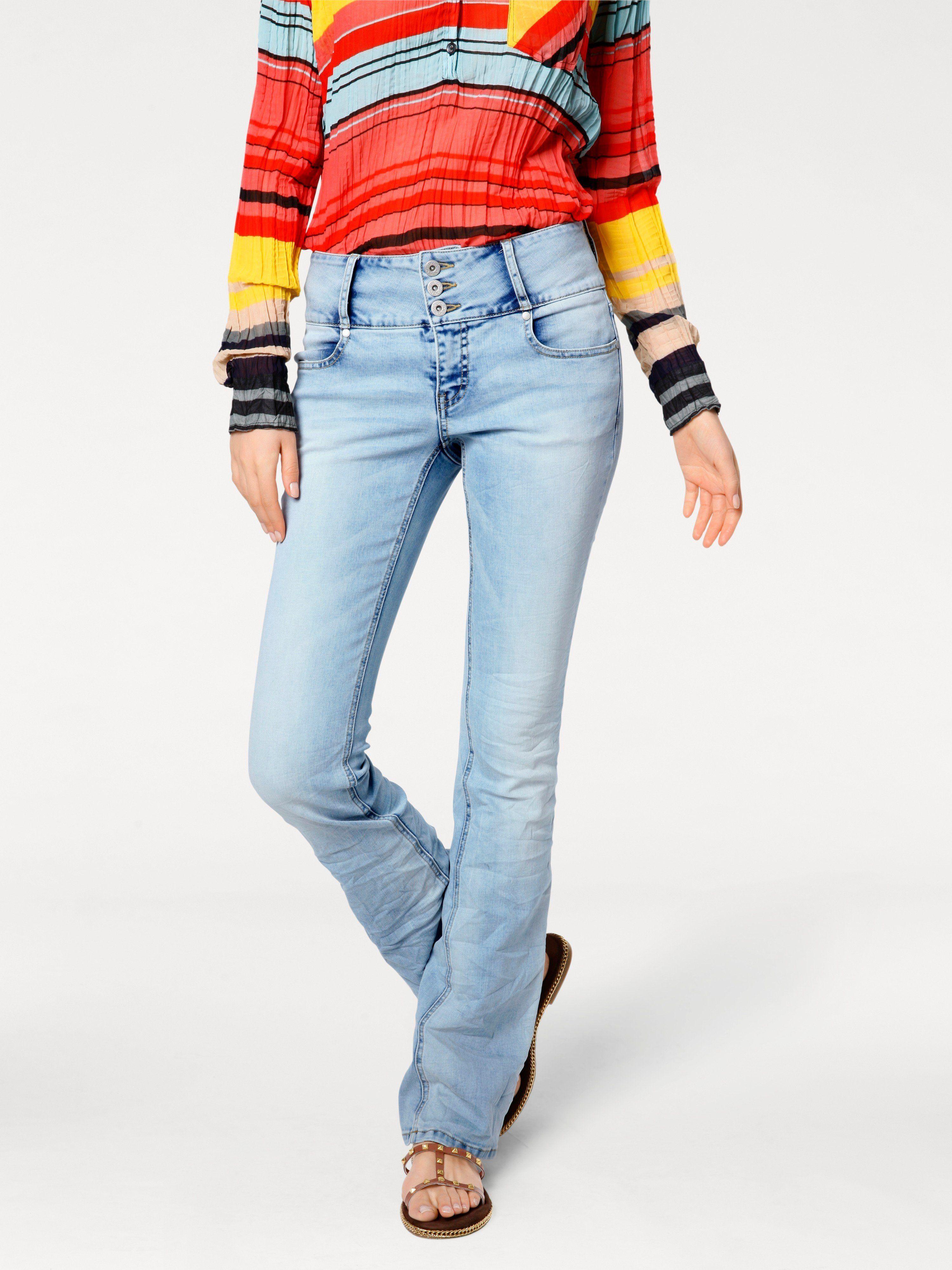 3df70973042  Damen B.C. BEST CONNECTIONS by Heine Flared-Jeans in Crash-Optik blau