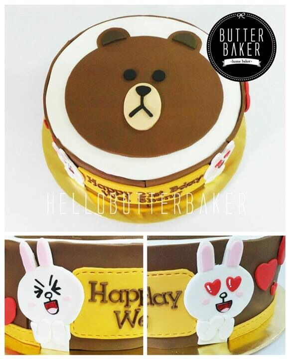 Line apps Brown and Cony character birthday cake