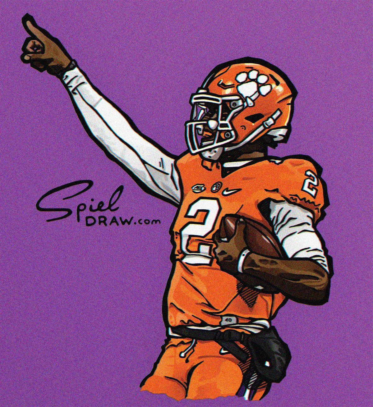Digital Illustration Of Clemson Quarterback Kelly Bryant Created With Procreate And Ph Clemson Tigers Football Clemson University Football Lsu Tigers Football