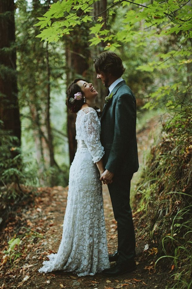 A beautiful vintage wedding dress!! 15 Wedding Dresses You Won't Believe Are Crocheted via Brit + Co