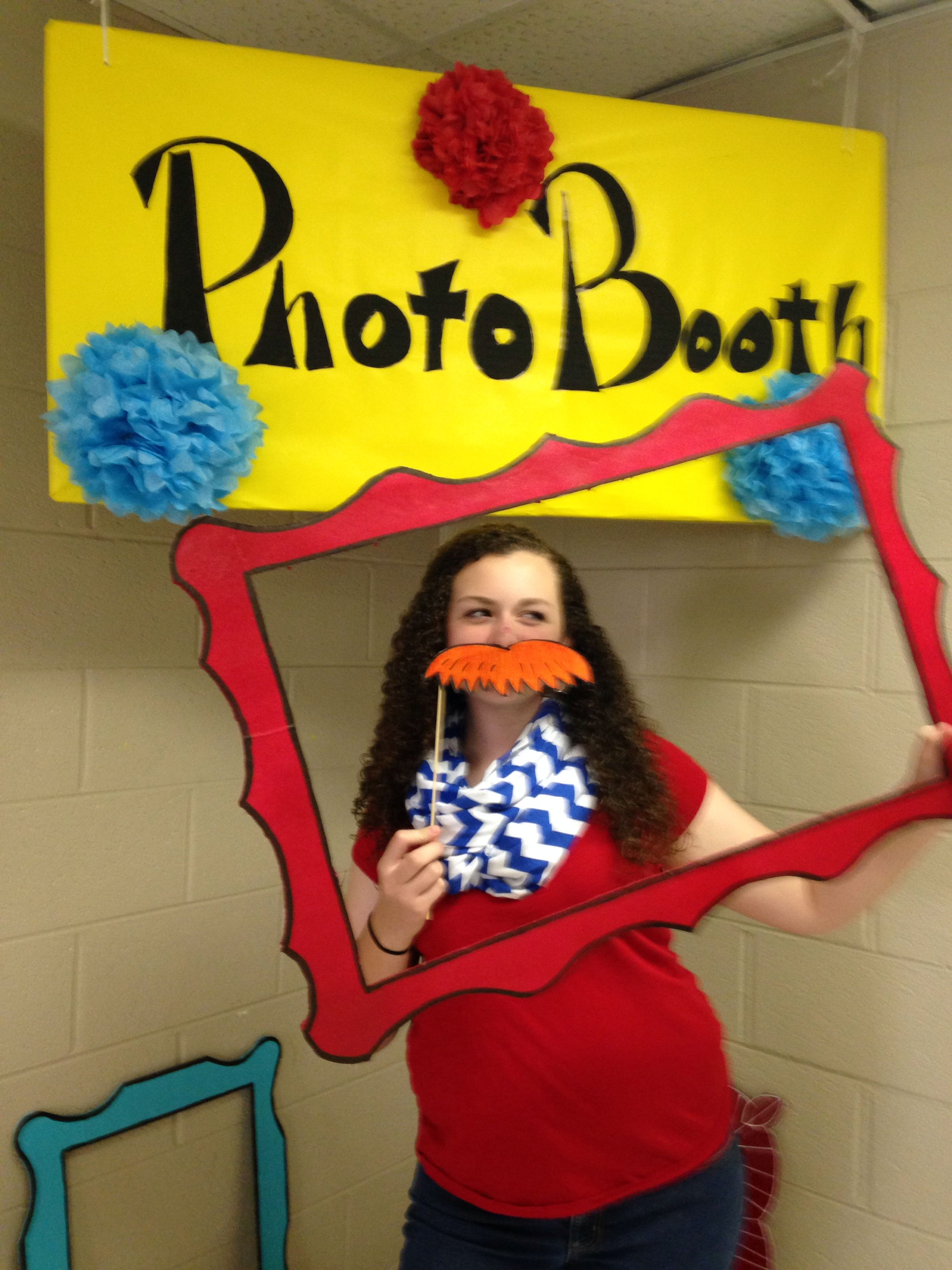 Dr seuss first birthday. Twins. Photo booth. Frames made from foam ...