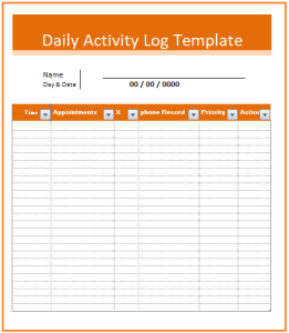Daily Activity Log Template  My Work    Daily