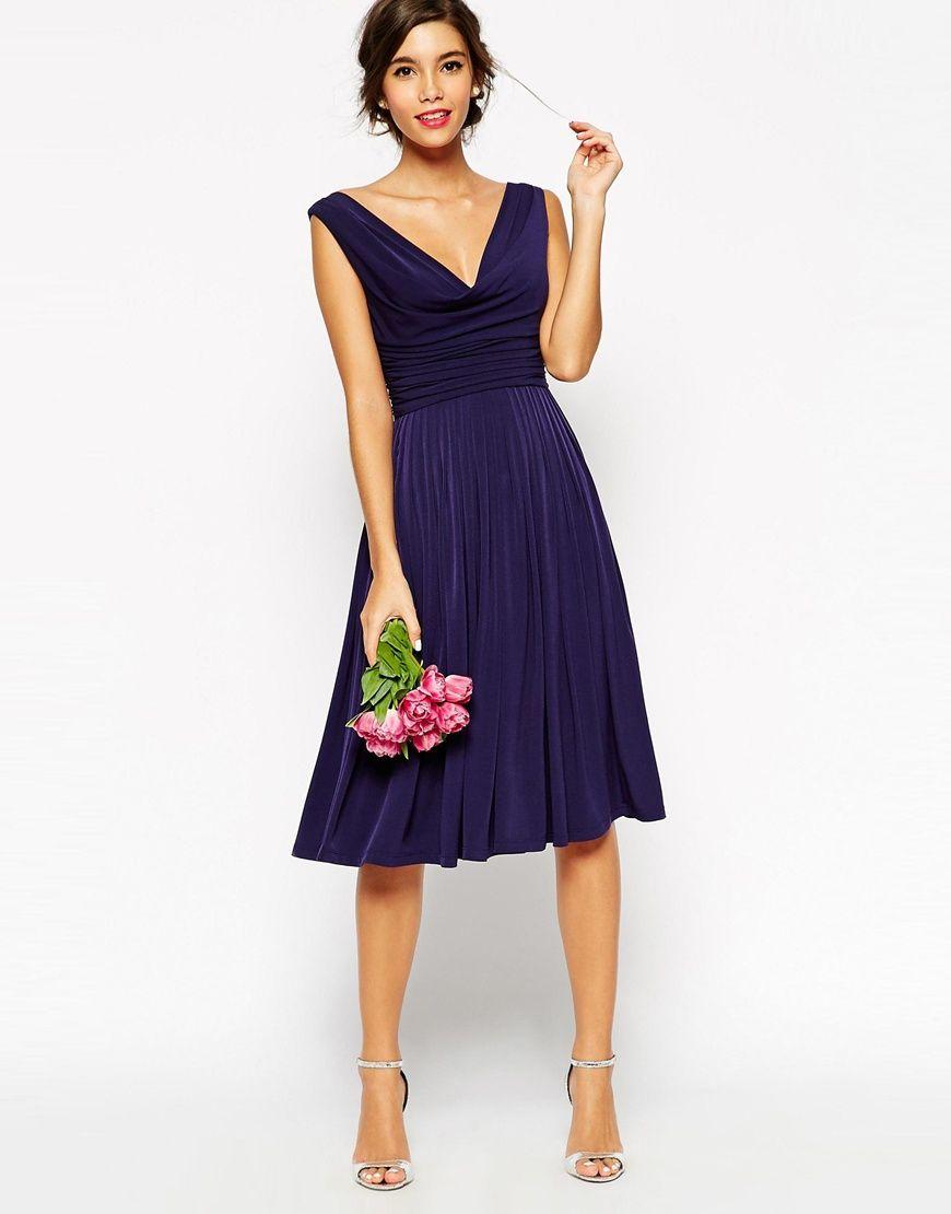 7ea19fcc6449 Image 3 of ASOS WEDDING Drape Cowl Neck Pleated Midi Dress