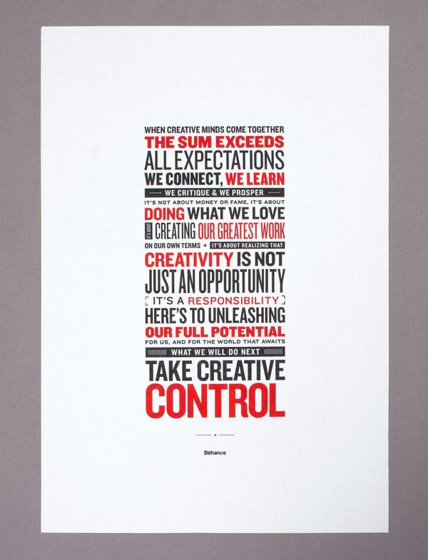 Behance Manifesto - Letterpress Poster by Raewyn Brandon, via Behance