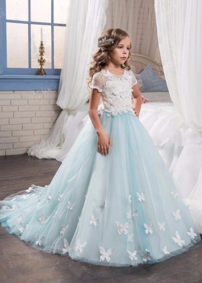 Flower Girl Dresses Light Blue Flower Girl Dress White Lace Top ...