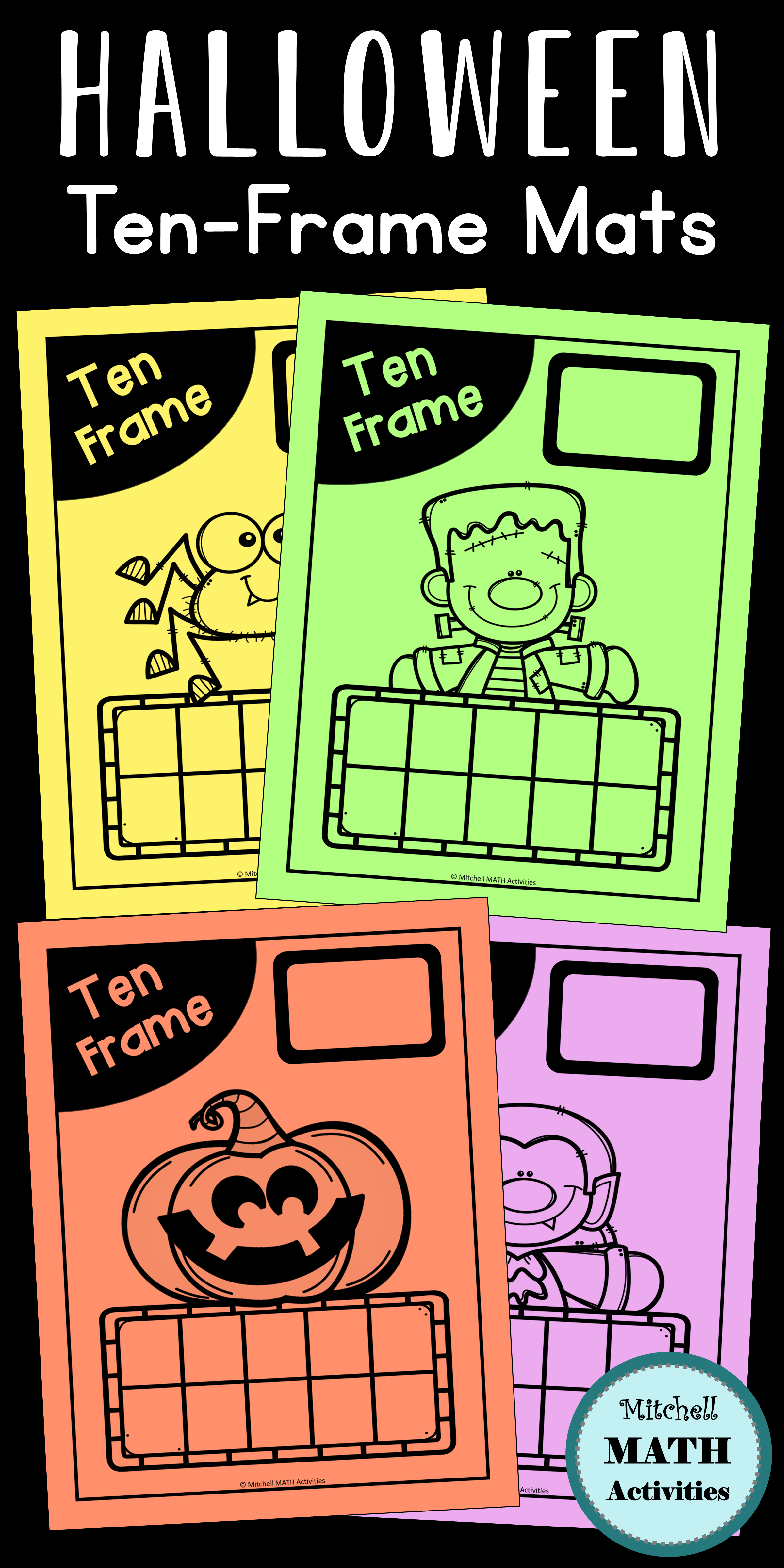 Ten Frame Mats And Number Cards