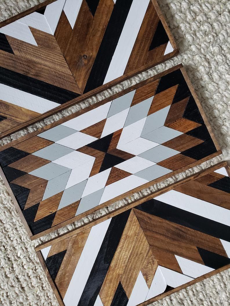 Dallas set of 3 reclaimed wood art geometric wood art