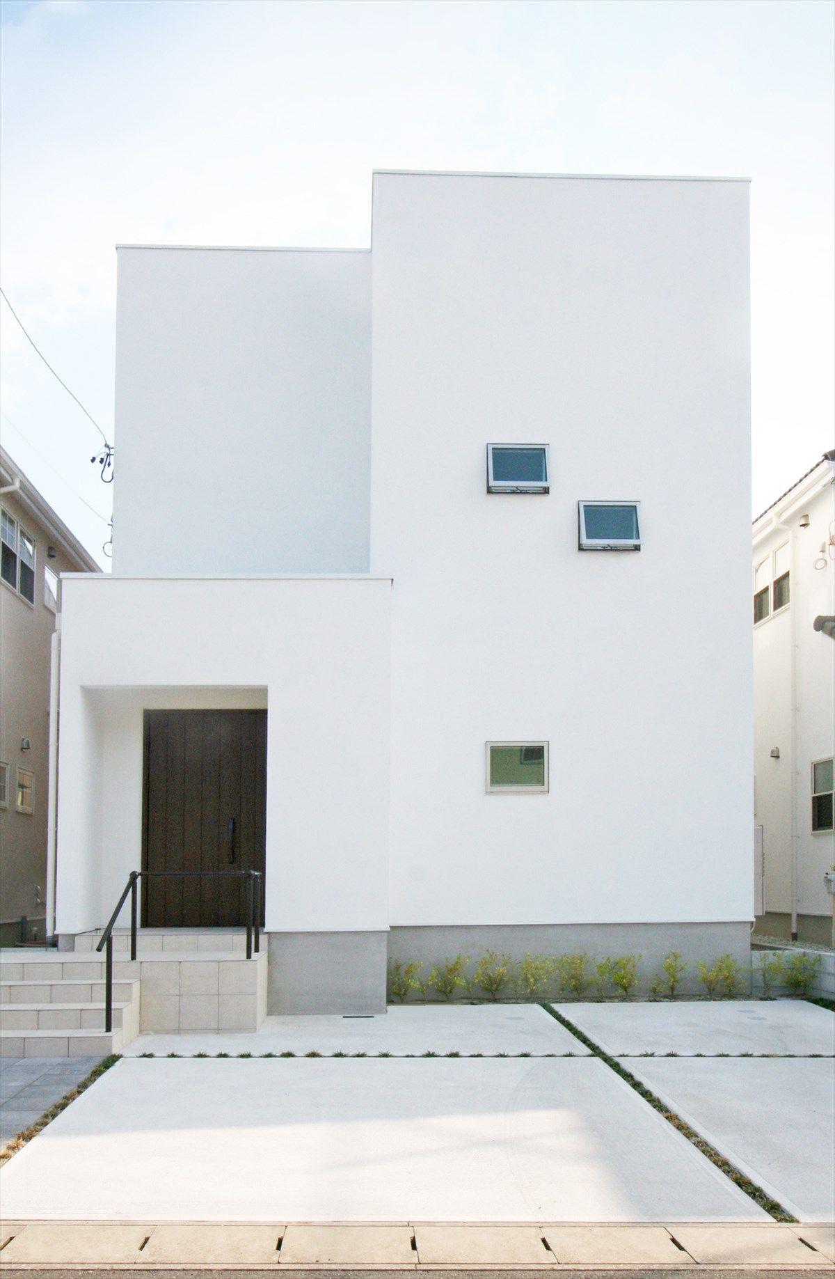 家 外観 エクステリア 箱の家 白い家 塗り壁 スクエアな家 モダン