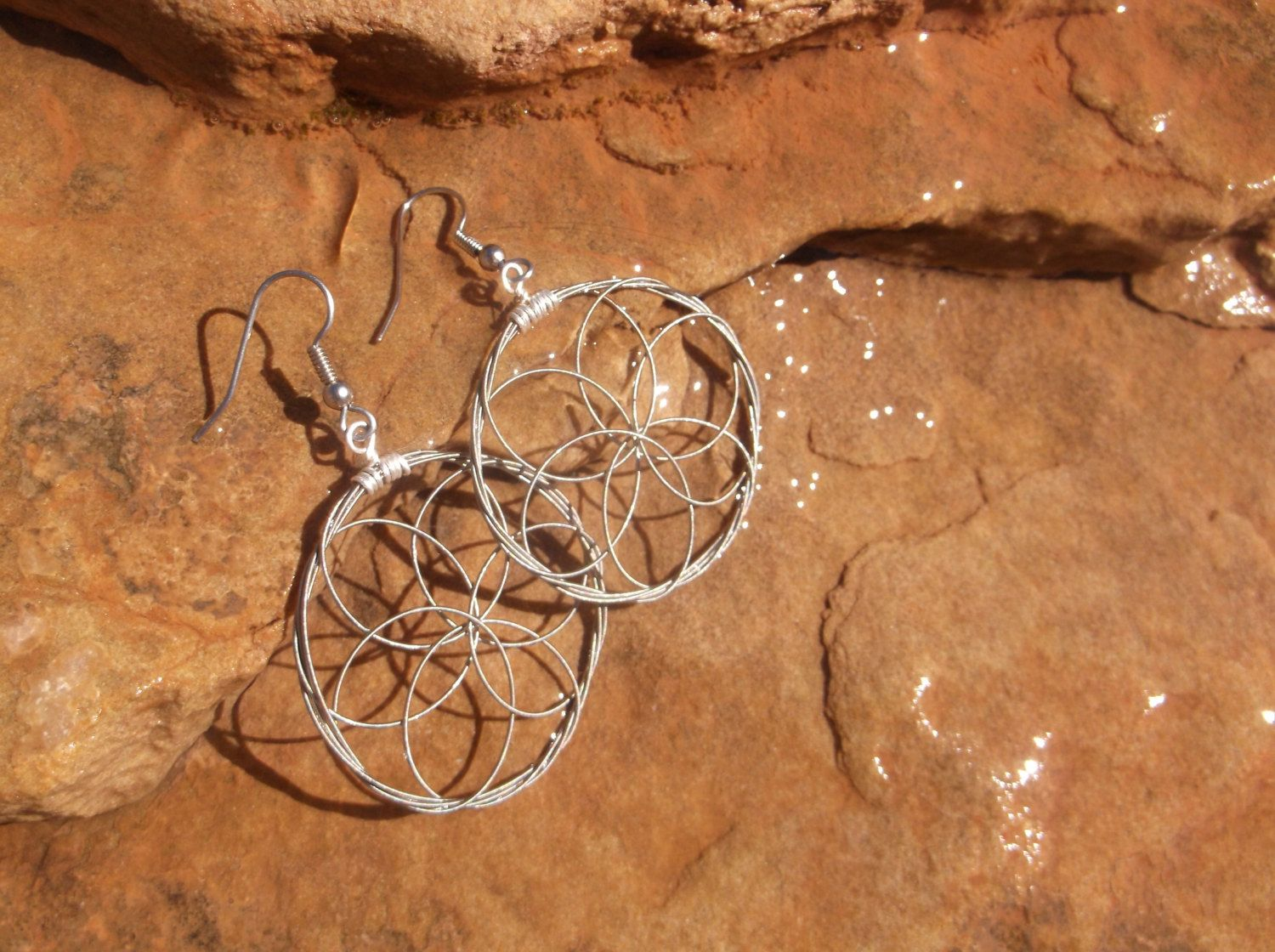Sacred Geometry Guitar String Earrings in Silver Tone | Music jewelry