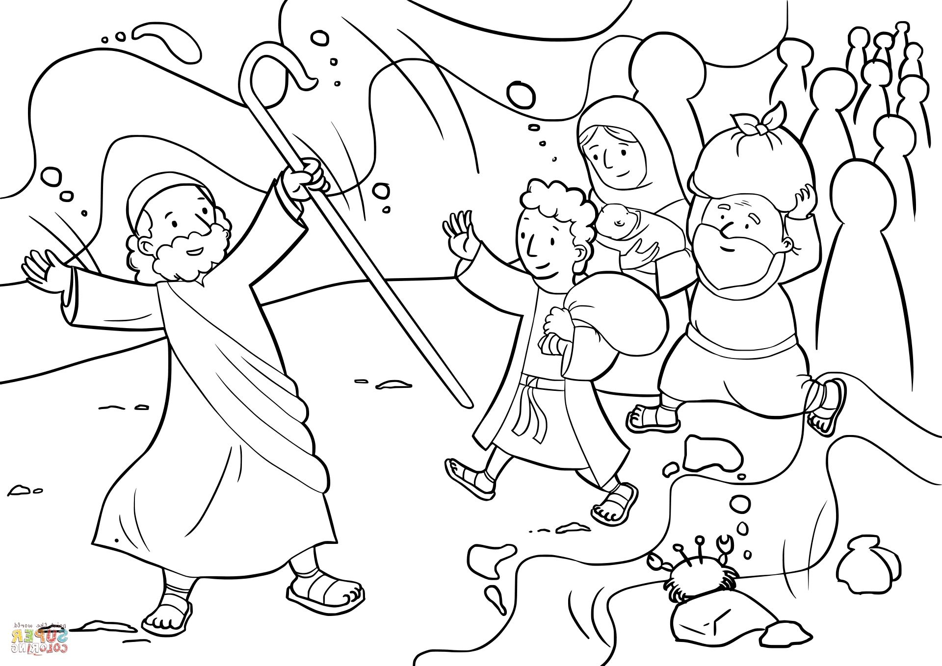 moses red sea crossing coloring pages | Moses Red Sea Coloring Page | Coloring Page | Moses red ...