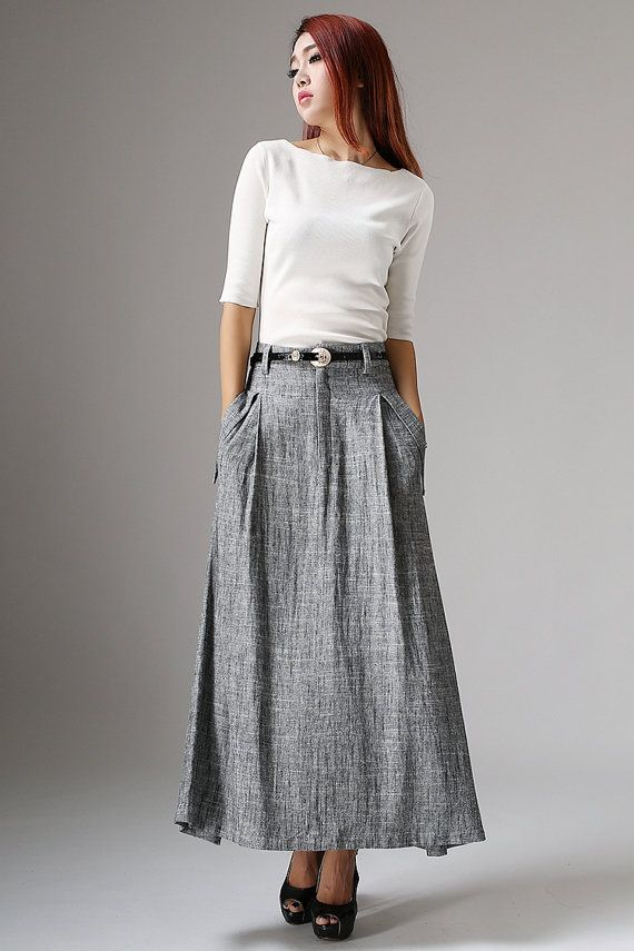 bbdfc46f9 Linen maxi skirt, gray skirt, ladies skirts, custom skirt, pocket ...