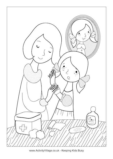 Little Girl Needs First Aid Colouring Page Brownie Girl Scouts