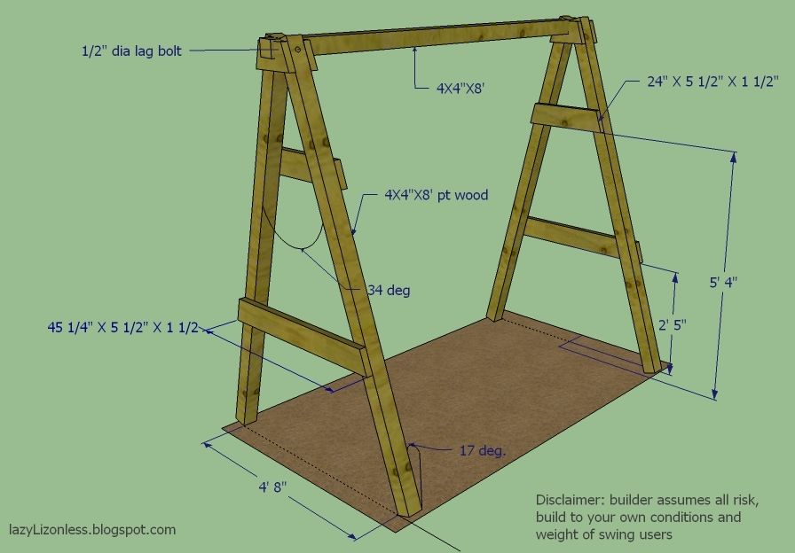 DIY A-frame plan for swing Would be great to have a swing for alyssa ...