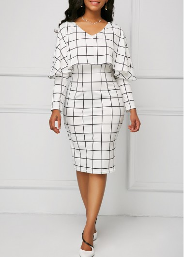 0888ddf39c V Neck Grid Print Cape White Sheath Dress