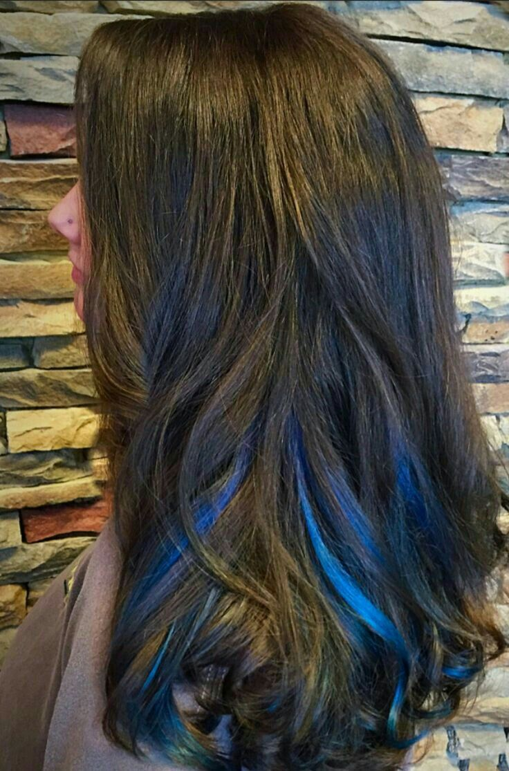 Blue Highlights Blue Hair Highlights Brunette Hair Color Hair