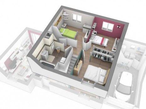 Maison à Etage 3 à 4 chambres Construction maison Design à Etage - Plan Architecture Maison 100m2