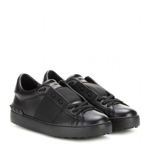 Valentino Open Leather Sneakers Sneakers Black Leather Sneakers Shoes