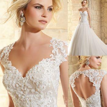 Vestido de noiva 2015 Wedding Gowns Lace Summer Style Bridal Dresses Open Back Robe de mariee Detachable Bolero W4255