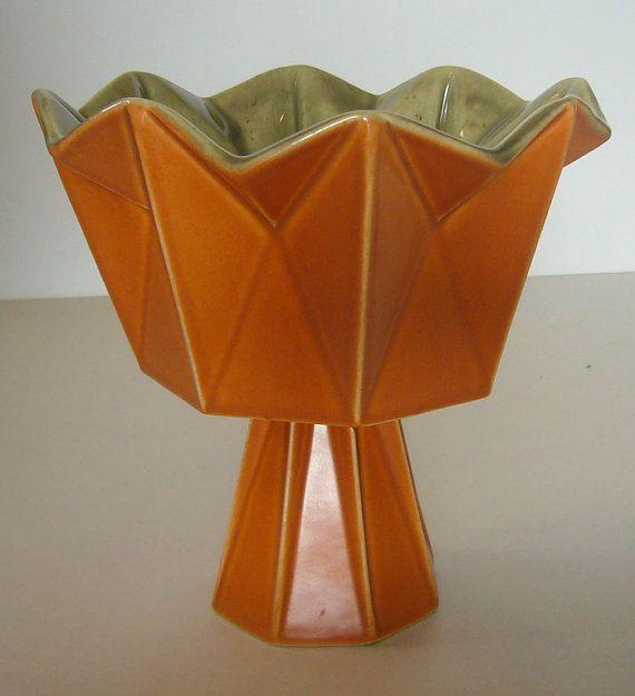 1960's Belle Kogan Prismatique Pedestal Bowl - Mandarin & Celadon - 787 - Red Wing Pottery