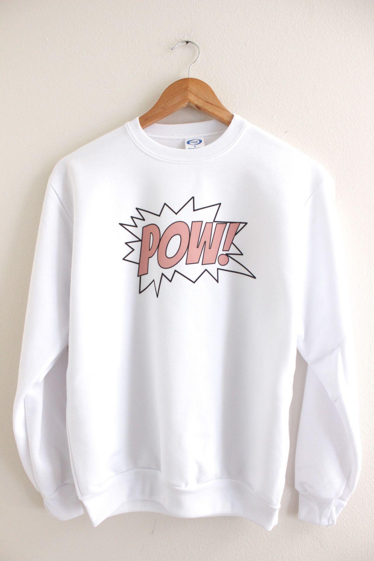 aa77f11509d4 Pink POW Graphic Crewneck Sweatshirt Graphic Sweatshirt