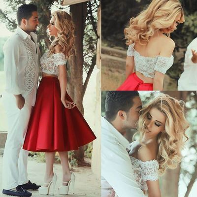 Two pieces off shoulder short prom dresses,lace homecoming dresses ...