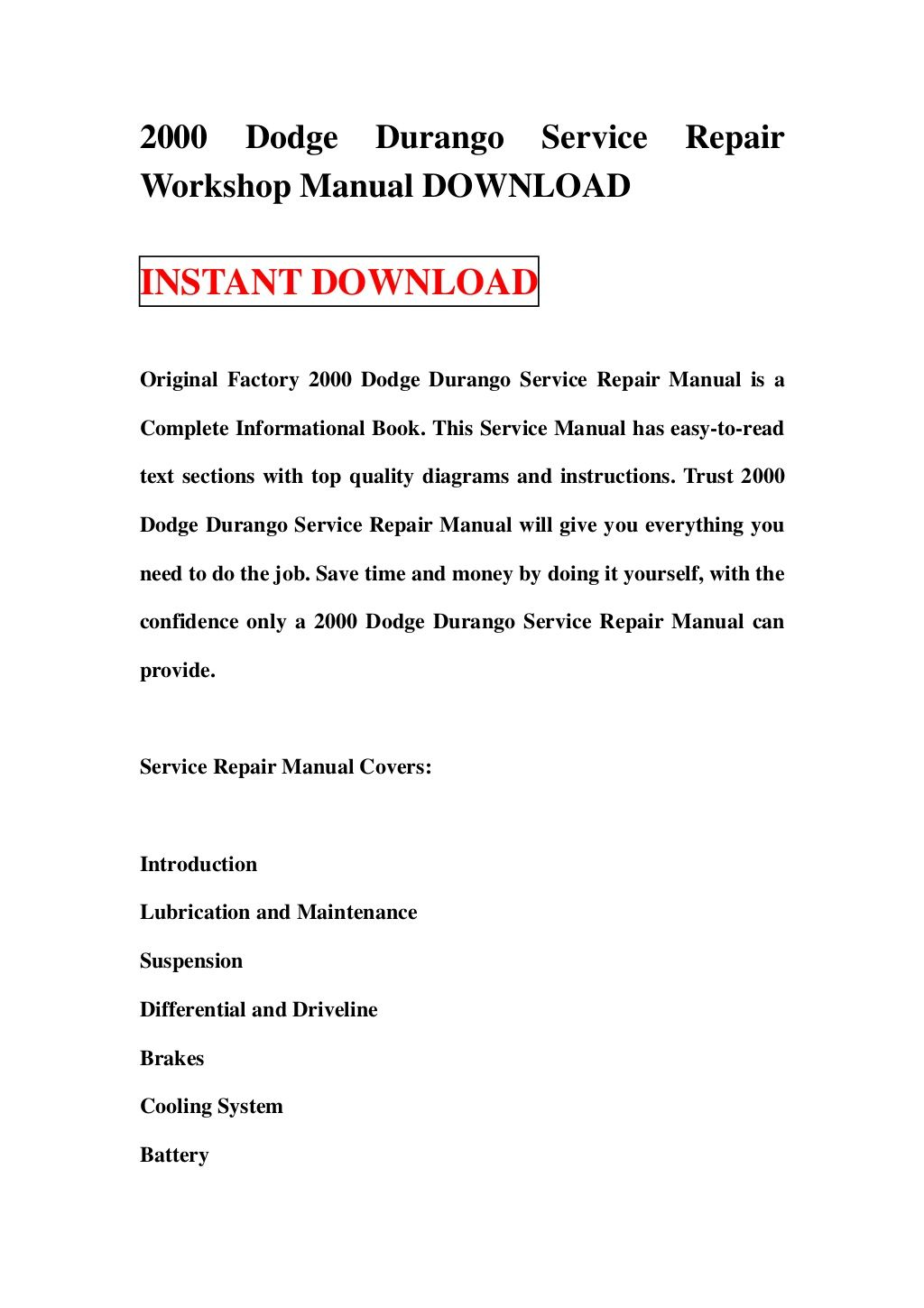 2000-dodge-durango-service-repair-workshop-manual-download-16767947 by  witeyayealaln via Slideshare