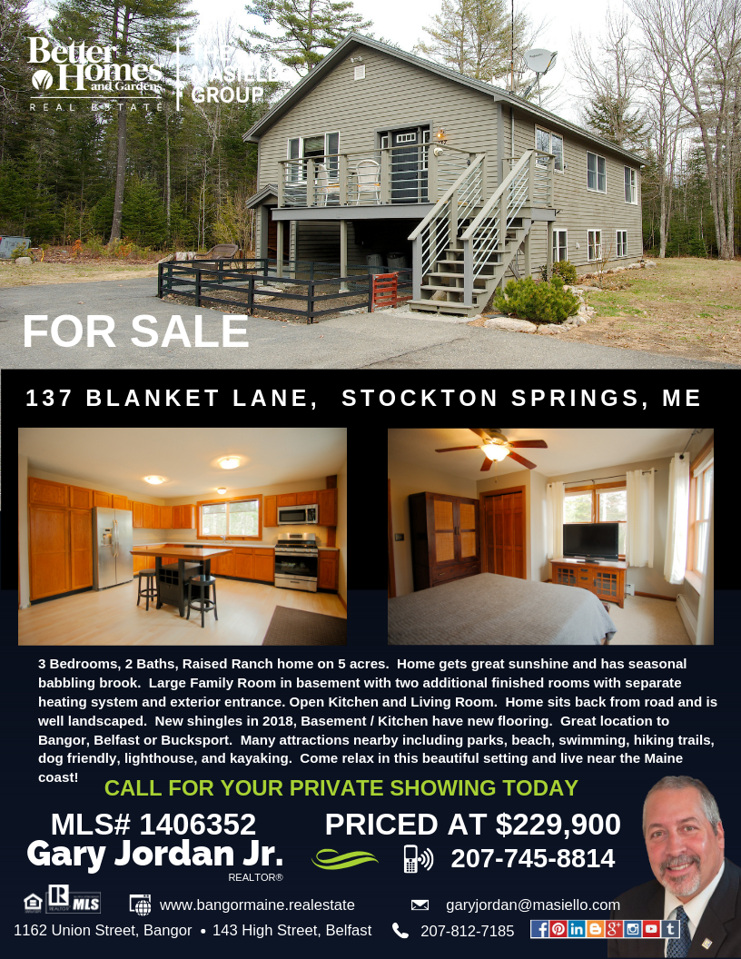 3 Bedrooms 2 Baths Raised Ranch Home On 5 Acres Home Gets Great Sunshine And Has Seasonal Babbling Br With Images Ranch House Maine Real Estate Better Homes And Gardens