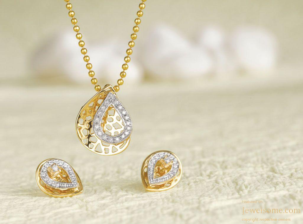 Tanishq Mia pendant and earring set alka Pinterest