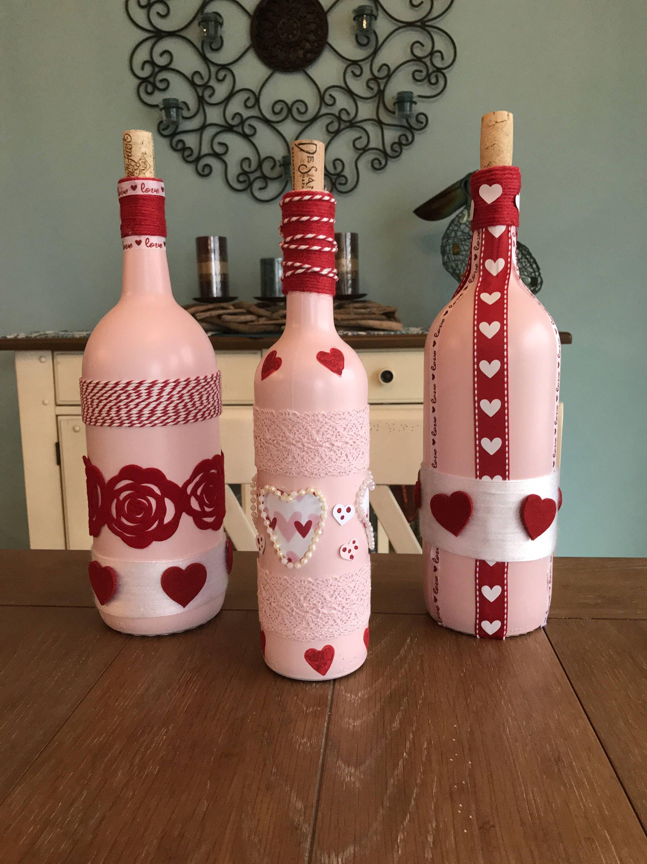 Pink And Red Embellished Wine Bottles Wedding Shower Etsy Valentines Wine Bottle Crafts Wine Bottle Crafts Valentines Wine Bottles