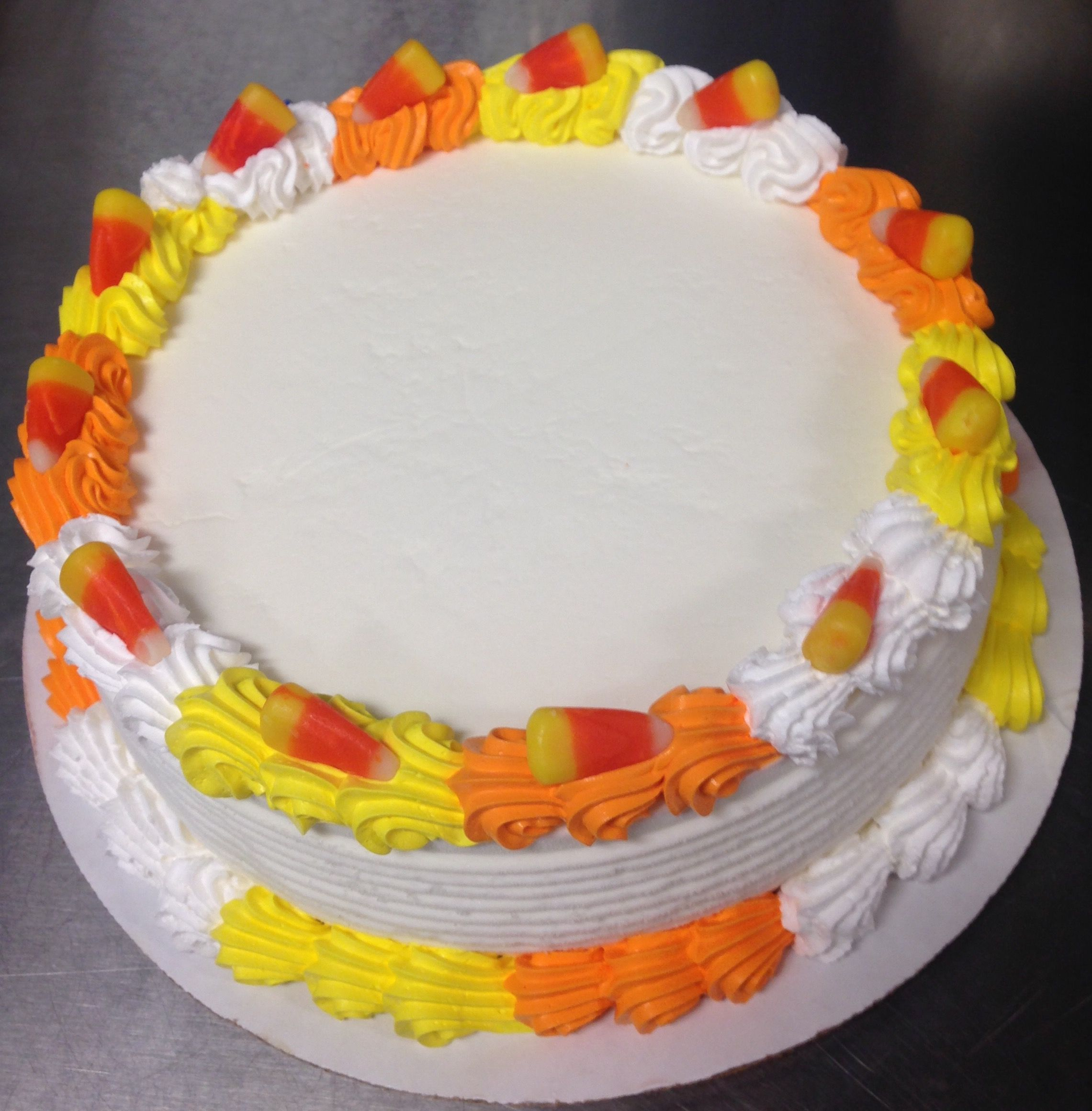 Candy corn border DQ ice cream cake work Pinterest Ice cream - Halloween Cake Decorating Ideas