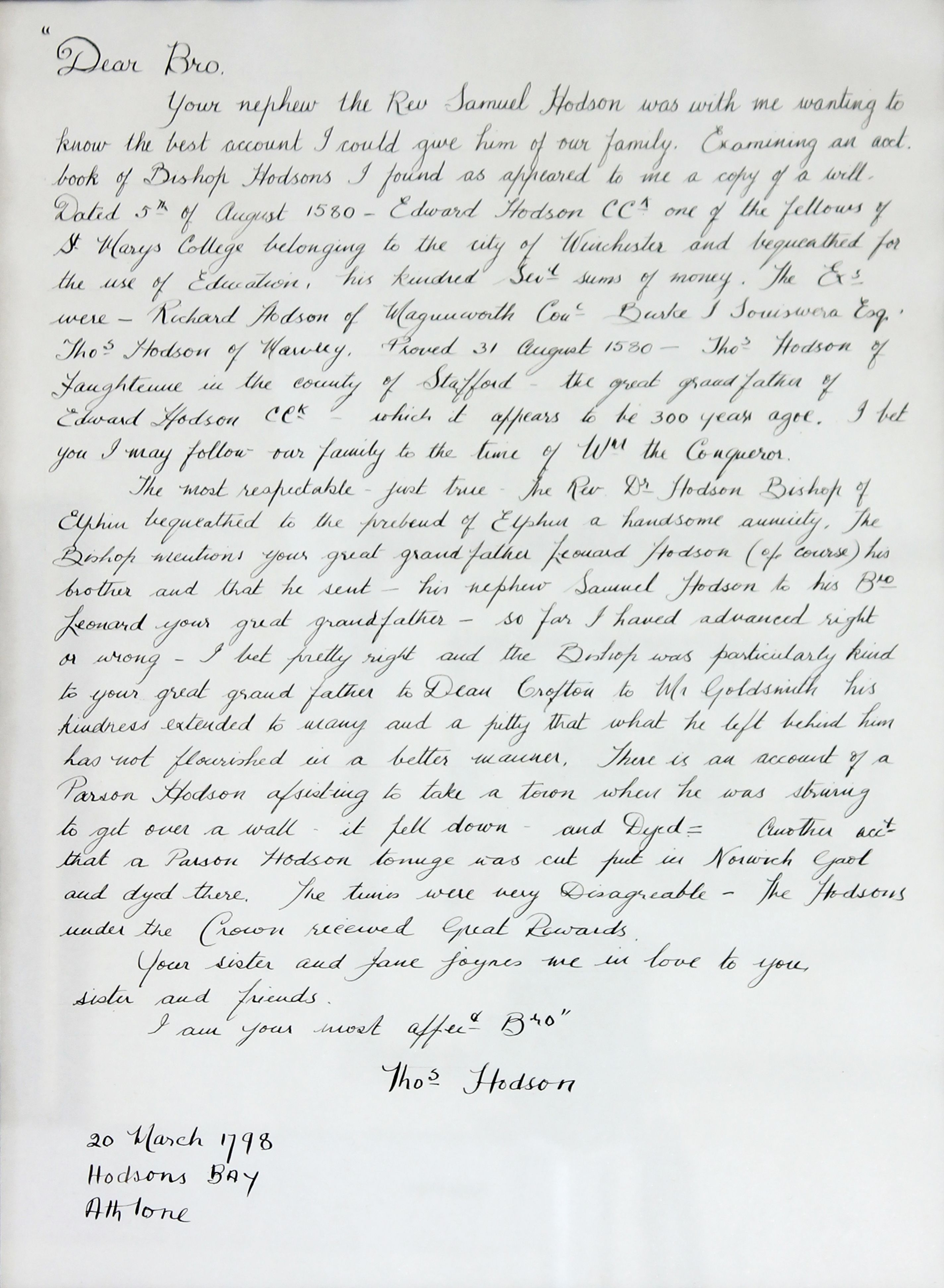 A Letter Written To Edward Hodson Th March   Ireland