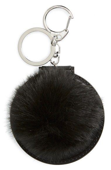 Topshop Faux Fluffy Pom Key Ring with Mirror