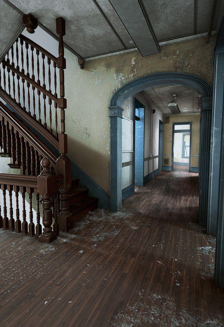 Abandoned Hospital, Brett Shields on ArtStation at https