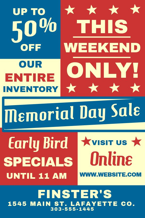 Memorial Day Sale Flyer Template Click To Customize Memorial Day