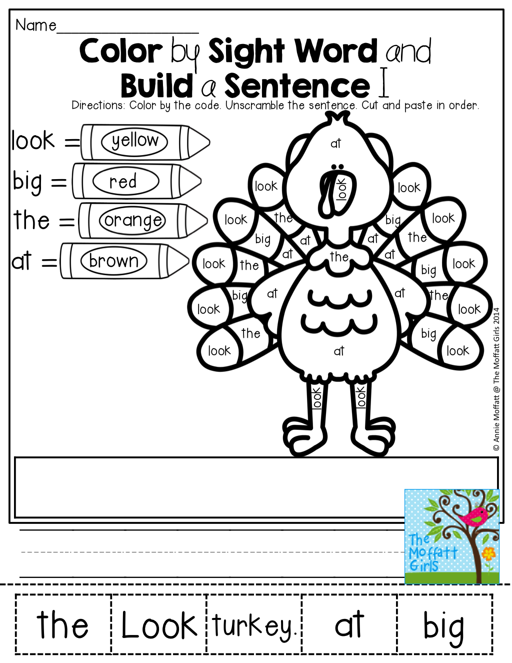 Color By Sight Word And Build A Simple Sentence Cut And Paste And Write