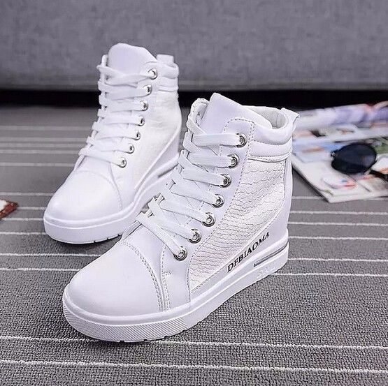 Womens Round Toe lace-up Wedge High Heel Sneakers Sport Athletics Casual Shoes #
