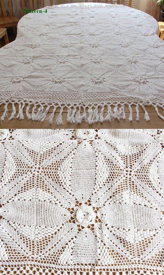 Four Patterns Cotton Handmade Vintage Style Crochet Bedspread Throw ...