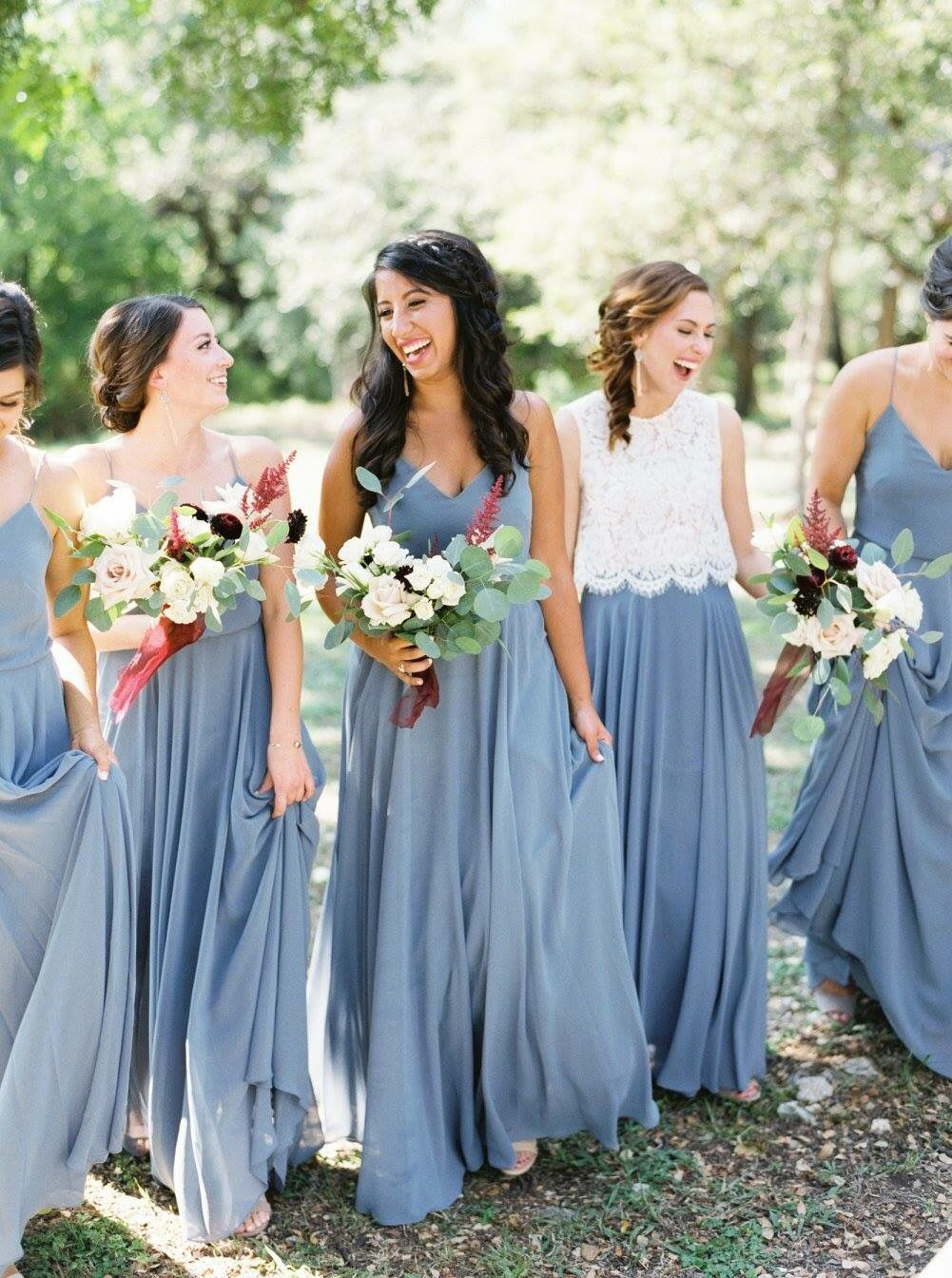 Jenny Yoo Bridesmaids Long Luxe Chiffon Inesse Dress In Denmark Blue Perfecf Shade For A Boho Chic Wedding Photo By Brittany Jean Photography