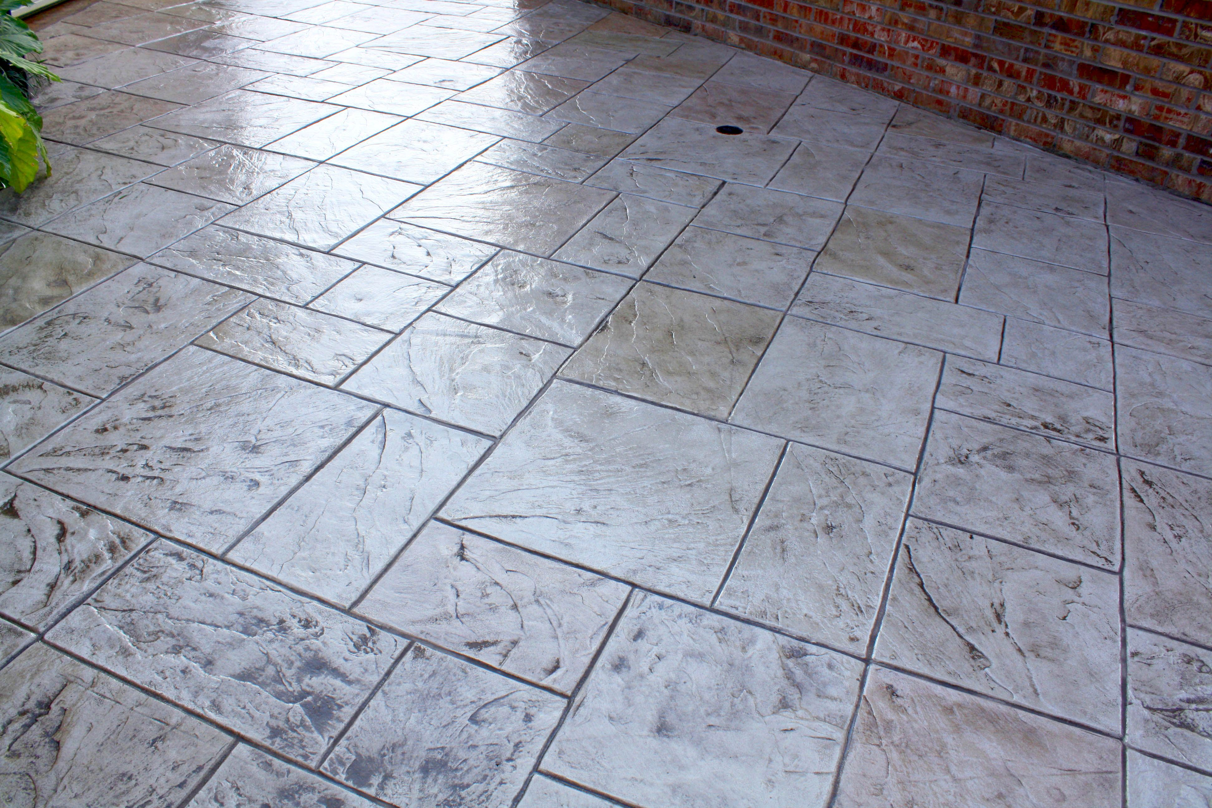 Concrete Patio Stamped With Extra Large Ashlar Slate Tile Pattern Concrete Stamps Concrete Decor Pattern Concrete Concrete