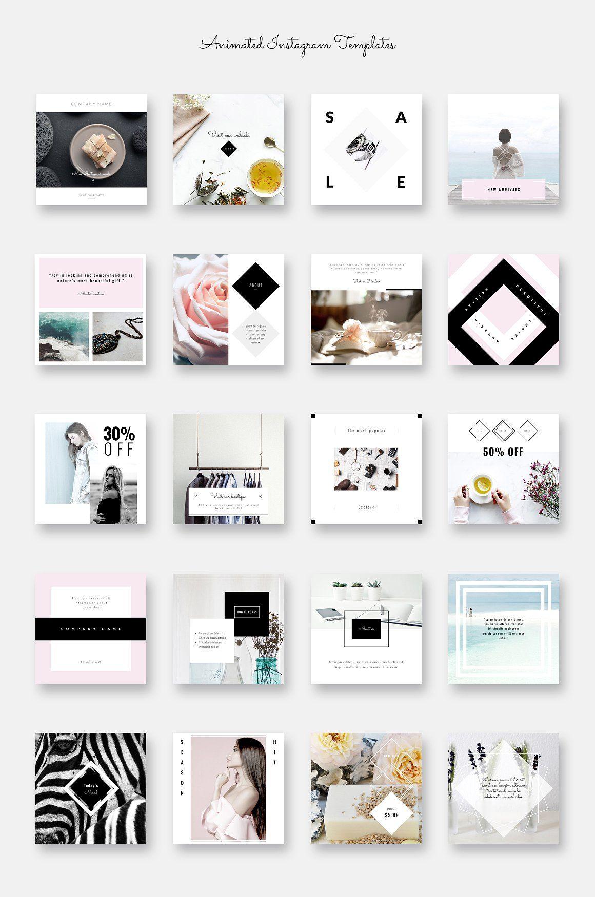 Animated Instagram Posts Minimalist Elementy Dizajna Dizajn