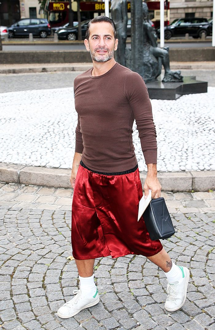 Marc Jacobs in a crew neck long sleeve and a red silk skirt
