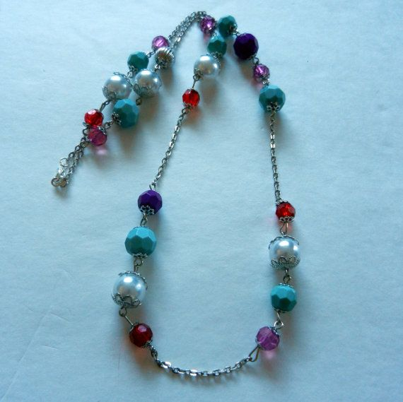 Colorful Beaded and Silver Chain Link Necklace by CloudNineDesignz, $20.00