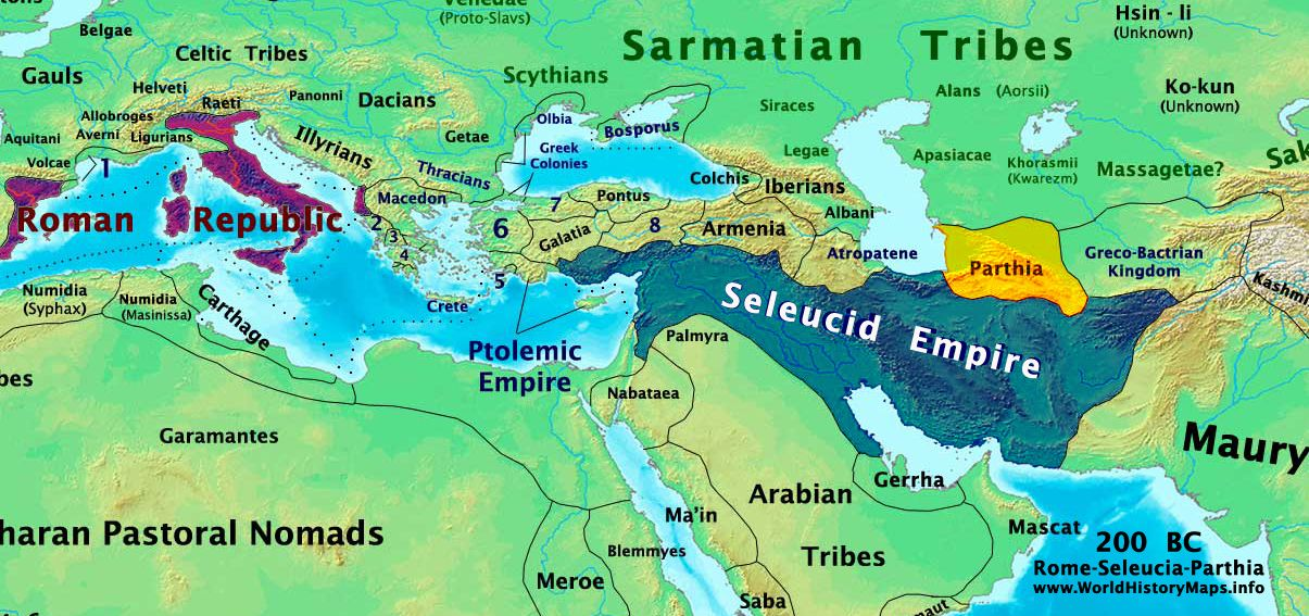 A map centered on the Mediterranean and Middle East showing ...