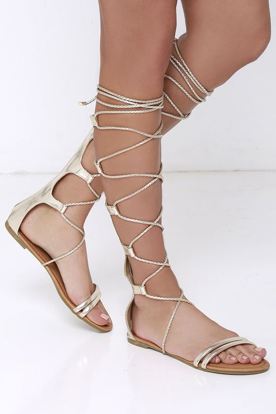 Gilded Gal Gold Tall Gladiator Sandals at Lulus.com! 65fc5ba974d