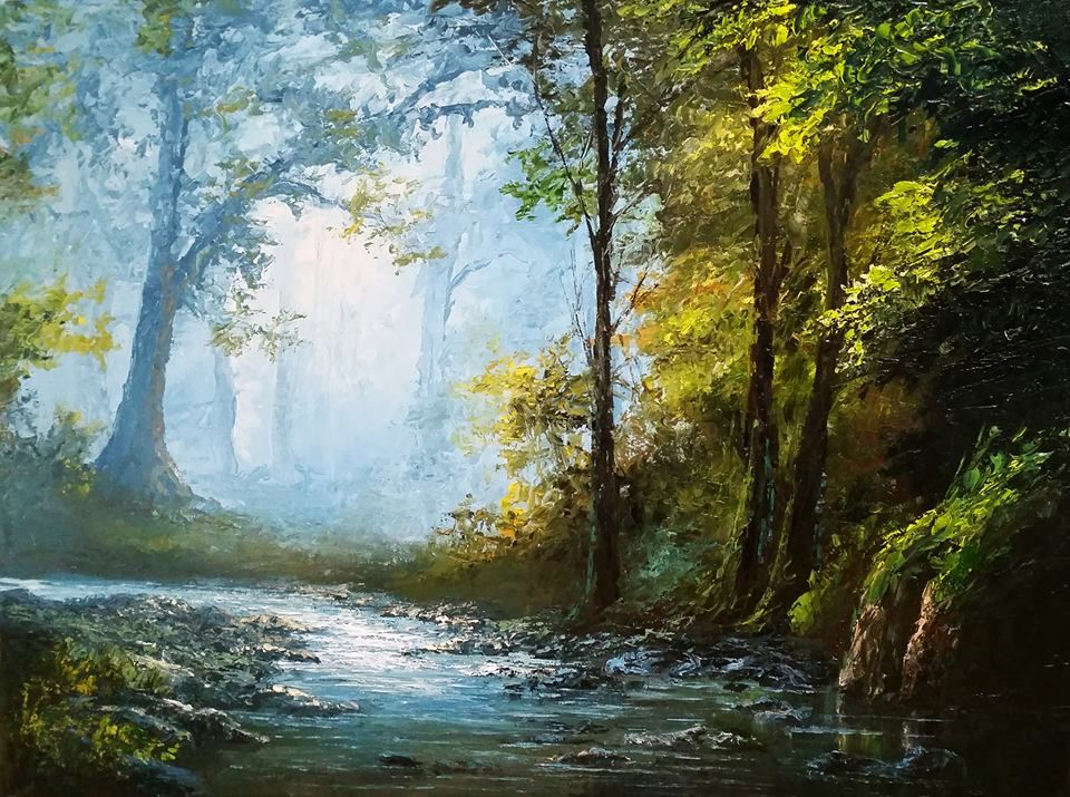 Palette Knife Only Landscape Painting By Kevin Hill Check Out My Youtube Channel Kevinoilpai Kevin Hill Paintings Landscape Paintings Oil Painting Landscape