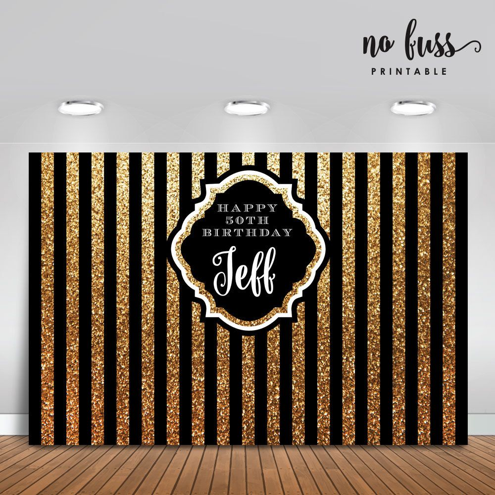 Black And Gold Backdrop Adults Party Banner By