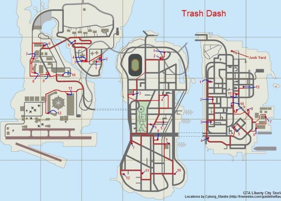 Map For Trash Dash Side Mission In Grand Theft Auto Liberty City Stories Grand Theft Auto Gta Video Games